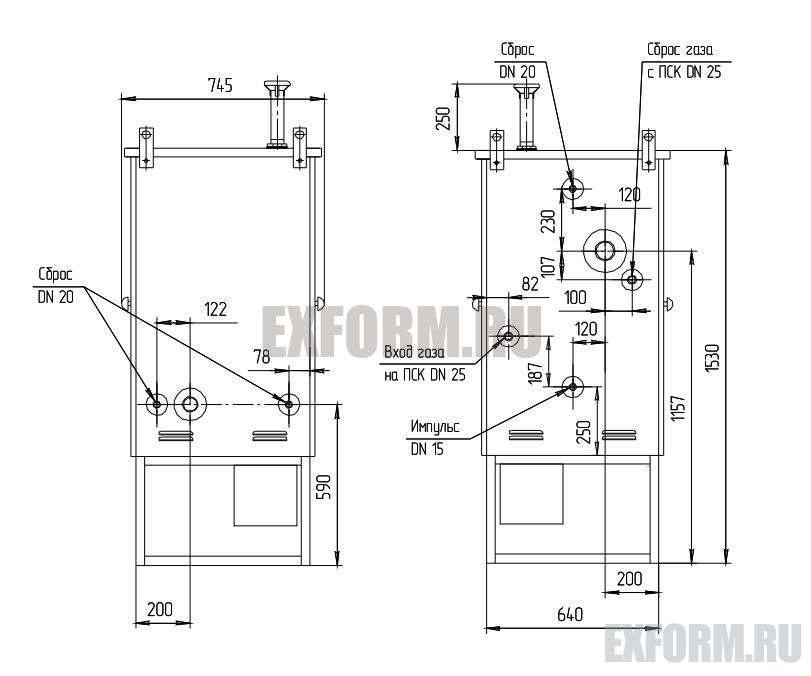 Габаритная и газовая схемы ГРПШ-02-2У1 (типовые)
